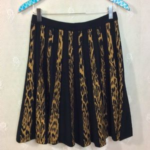 Kate & Mallory Tan Leopard Print Black Skirt S